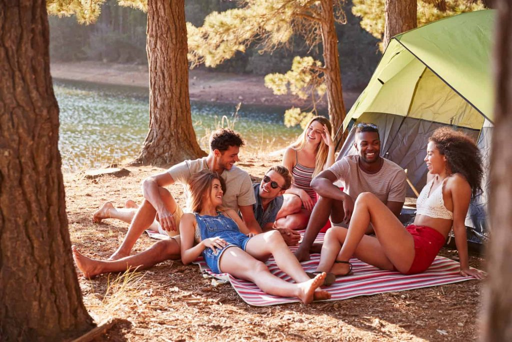 a group of friends planning a camping trip