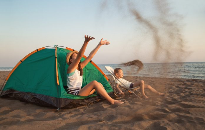 beach camping with the kids