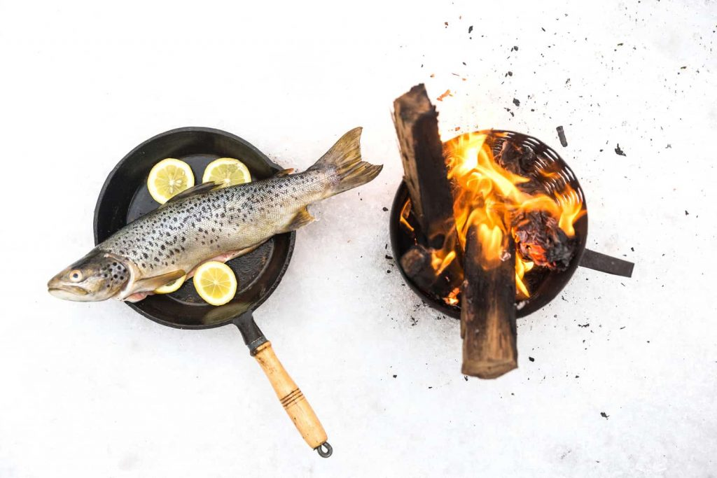 cooking trout while camping