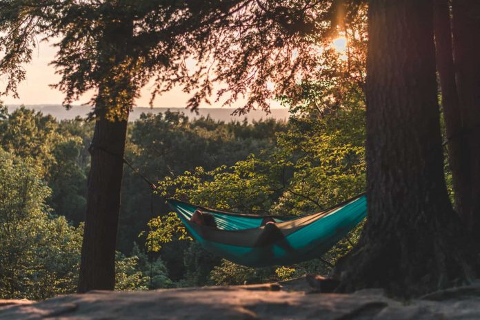 hammock rain fly in the sunset