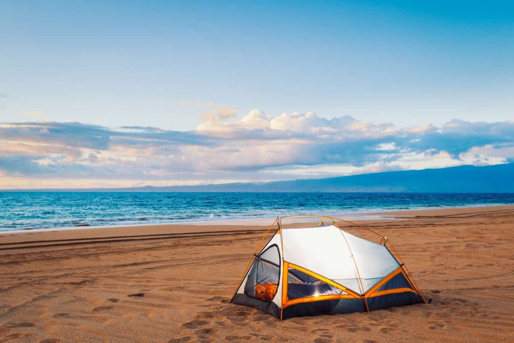 quality tent for beach camping on a sunny weather