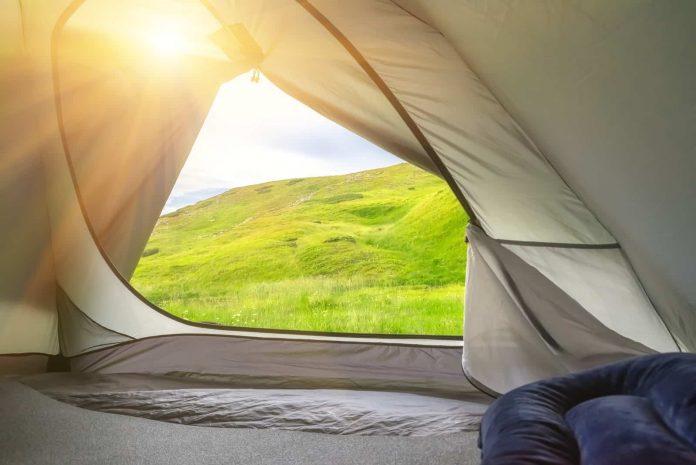 camping pillow inside tent