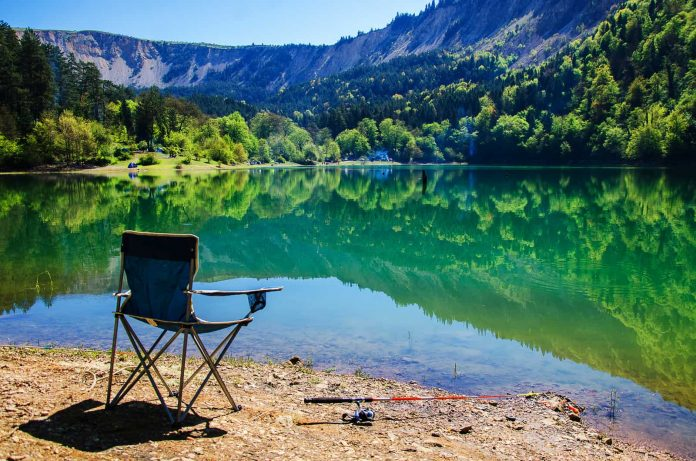 camping chairs in the lake