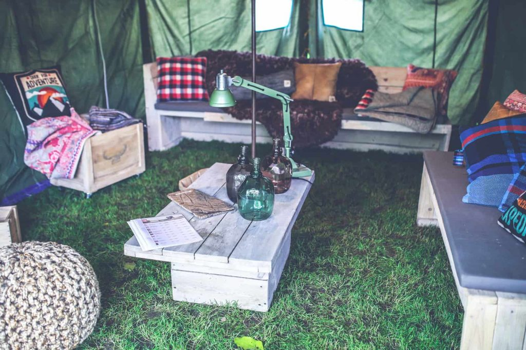 wooden camping tables