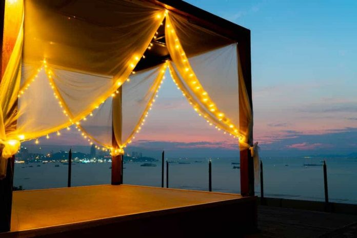 canopy tent at the beach