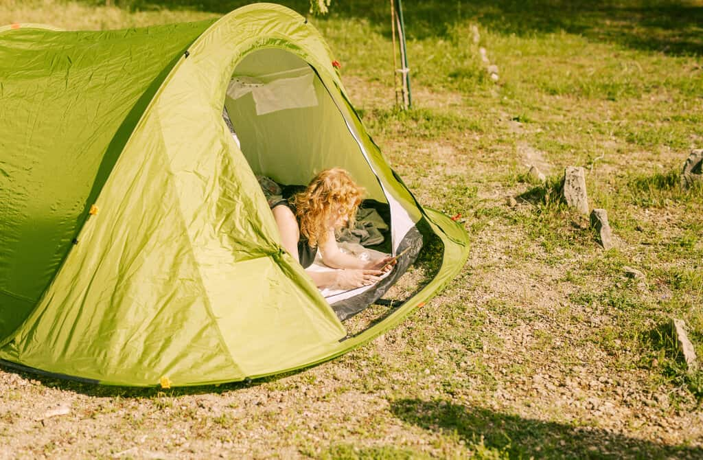 two tents that you can connect together with each other