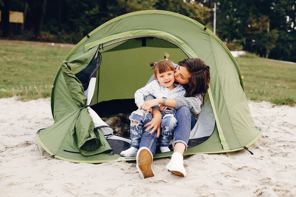 camp with a baby outdoors