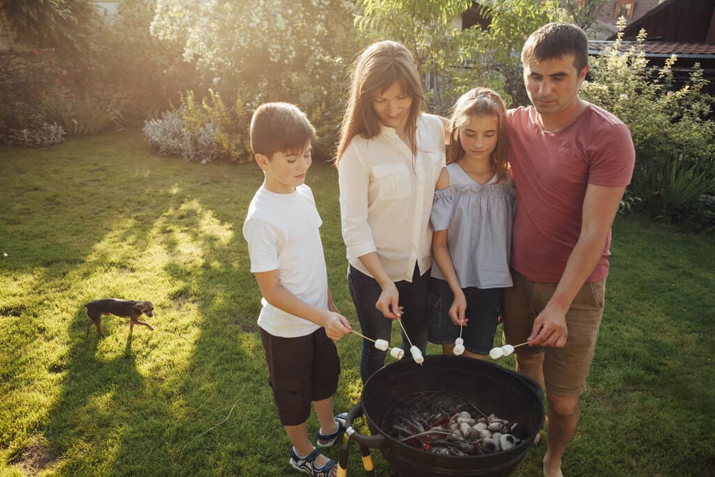 using camping stove with the family